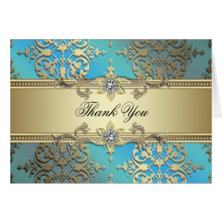 Teal Blue Gold Thank You Cards