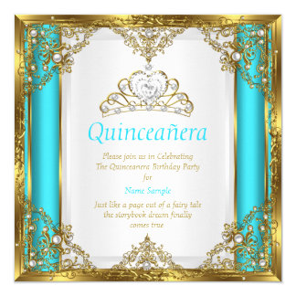 Teal Blue Gold White Pearl Princess Quinceanera Card