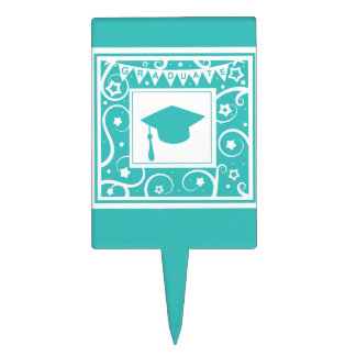 Teal blue graduate mortar board hat cake topper