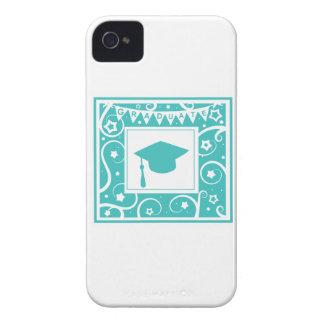 Teal blue graduate mortar board hat iPhone 4 cover