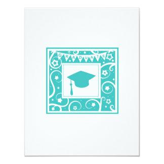 Teal blue graduate mortar board hat 4.25x5.5 paper invitation card