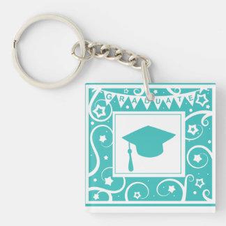 Teal blue graduate mortar board hat acrylic key chain