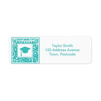Teal blue graduate mortar board hat label