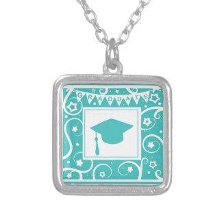 Teal blue graduate mortar board hat personalized necklace