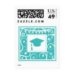 Teal blue graduate mortar board hat stamps