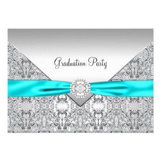 Teal Blue Graduation Party Custom Invitations