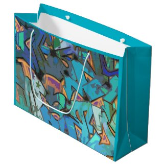 Teal Blue Graffiti Design Gift Bag