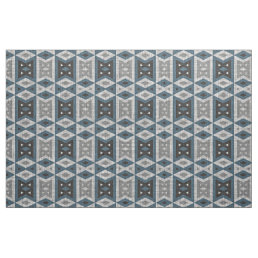 Teal Blue Gray Black Eclectic Ethnic Look Fabric
