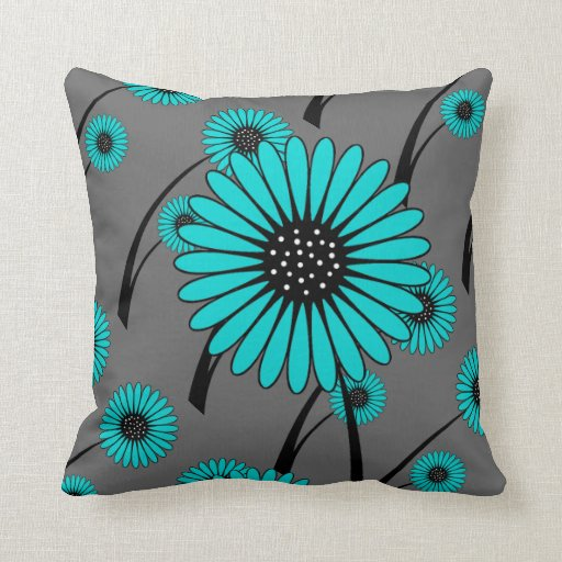 teal blue gray black floral flowers throw pillow zazzle. Black Bedroom Furniture Sets. Home Design Ideas