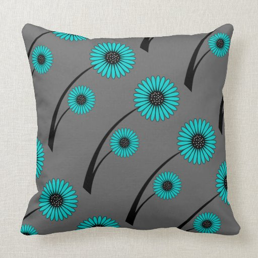 Teal Blue Gray Black Floral Flowers Throw Pillows Zazzle