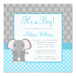 Teal Blue Gray Elephant Polka Dot Boy Baby Shower 5.25x5.25 Square Paper Invitation Card