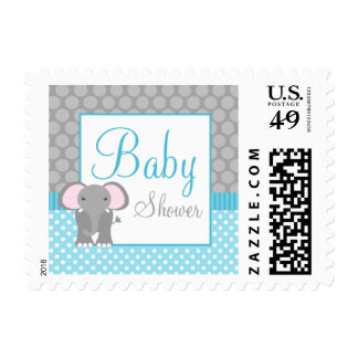 Teal Blue Gray Elephant Polka Dot Boy Baby Shower Postage