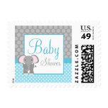 Teal Blue Gray Elephant Polka Dot Boy Baby Shower Postage Stamp