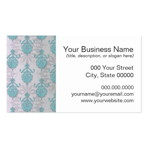 Teal Blue Green and Silvery White Damask Double-Sided Standard Business Cards (Pack Of 100)