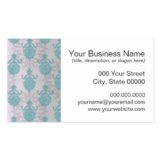 Teal Blue Green and Silvery White Damask Business Card Template
