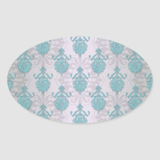 Teal Blue Green and Silvery White Damask Oval Sticker
