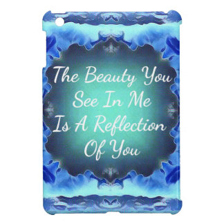Teal Blue Green Beauty Reflection Quote iPad Mini Cover