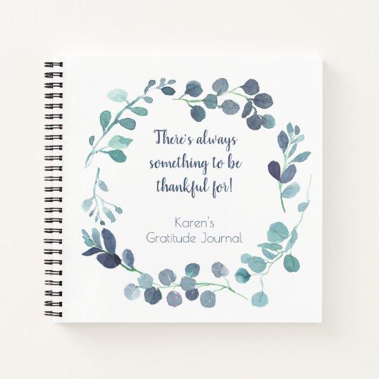 Teal Blue Green Botanical Wreath Gratitude Journal