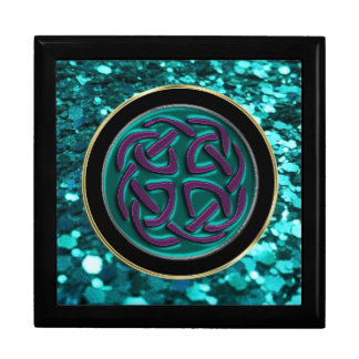 Teal Blue Green Celtic Knot on Glitter Gift Box