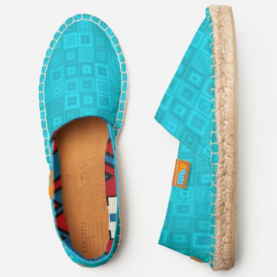 Teal blue-green concentric squares pattern espadrilles