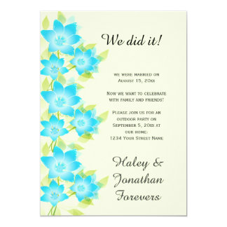 Teal Blue Green Floral Outdoor Reception Only Card