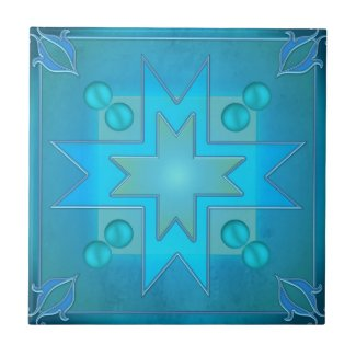 Teal Blue Green Geometric Design Bathroom Tile