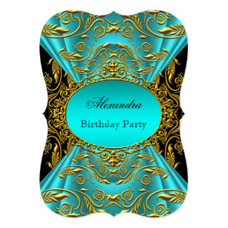 Teal Blue Green Jade Black Floral Birthday Party Card