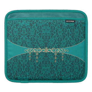 Teal Blue Green Lace With Jewelry iPad Sleeve