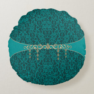 Teal Blue Green Lace With Jewelry Round Pillow