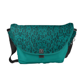 Teal Blue Green Lace With Jewelry Messenger Bag