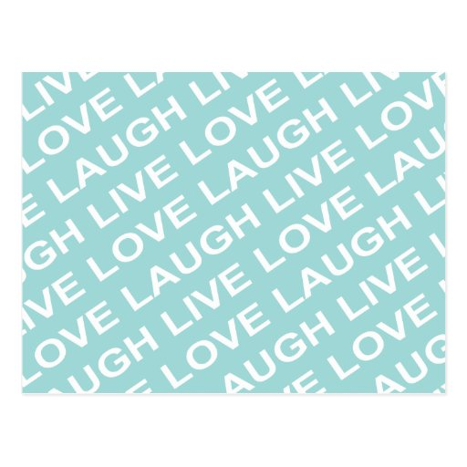 Teal Blue Green Love Text Pattern Postcard