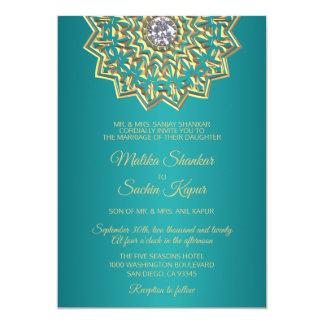 Teal Blue Green Mandala Gold Indian Wedding Invitation