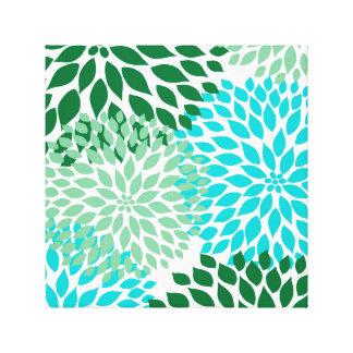 Teal Blue Green modern dahlia blossoms wall art
