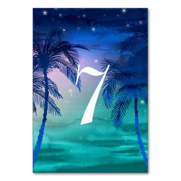 Beach Themed Teal Blue & Green Palm Tree Table Numbers Card