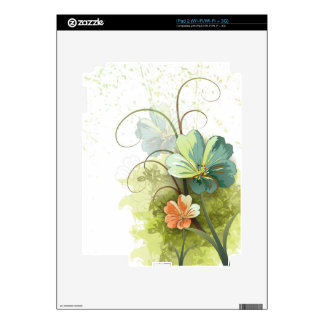 Teal blue green + peach floral ipad tablet skin iPad 2 skins