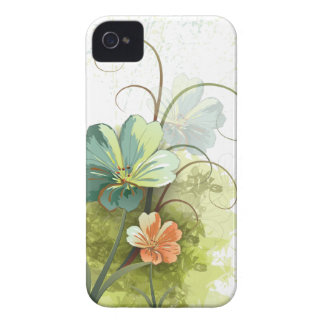 Teal blue green + peach floral iphone 4 case