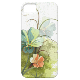 Teal blue green + peach floral iphone 5 case