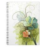 Teal blue green + peach floral notebook