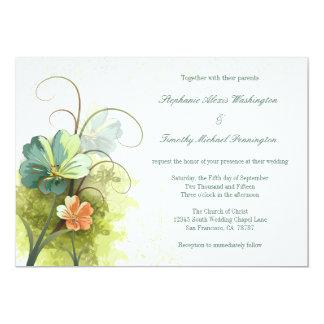 Teal blue green + peach floral wedding invitation