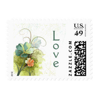 Teal blue green + peach floral wedding love stamps