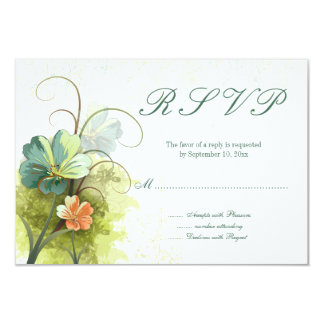 Teal blue green + peach floral wedding rsvp reply card
