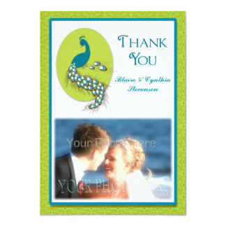 "Teal Blue, Green PeacockThank You Photo Card 5"" X 7"" Invitation Card"