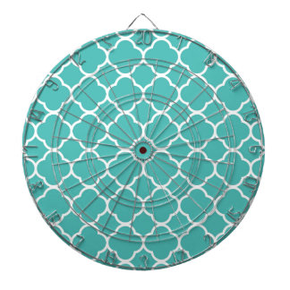 Teal Blue Green Quatrefoil Pattern Dartboard