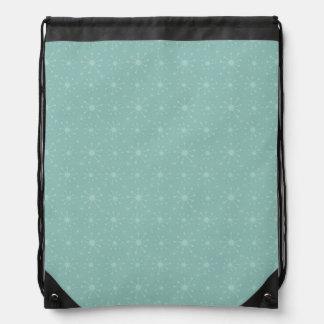 Teal Blue Green Snowflake Pattern Drawstring Bag