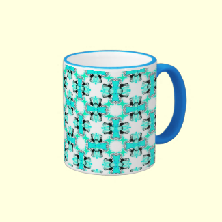 Teal Blue Green Stars Abstract Modern Pattern Mug