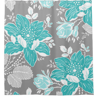 teal blue grey flowers pattern shower curtain
