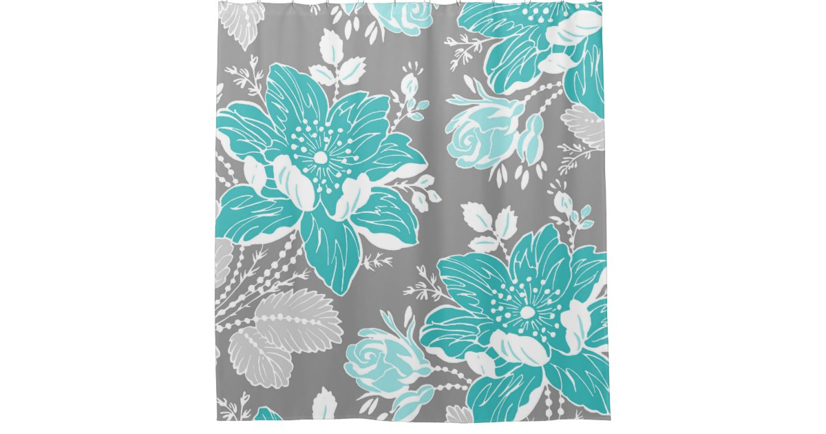 Teal Blue Grey Flowers Pattern Shower Curtain Zazzle Com