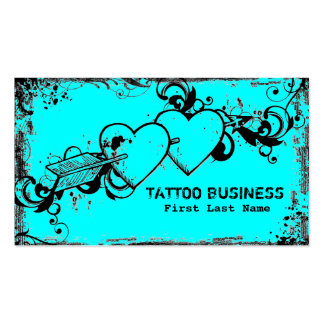 Teal blue grunge hearts tattoo business cards
