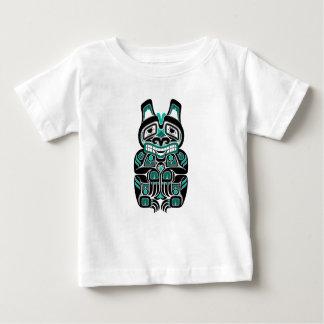 Teal Blue Haida Spirit Bear on Black Baby T-Shirt