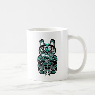 Teal Blue Haida Spirit Bear on Black Coffee Mug